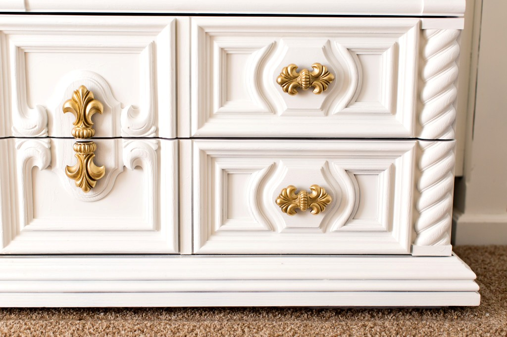 Picture of: Gold And White Dresser