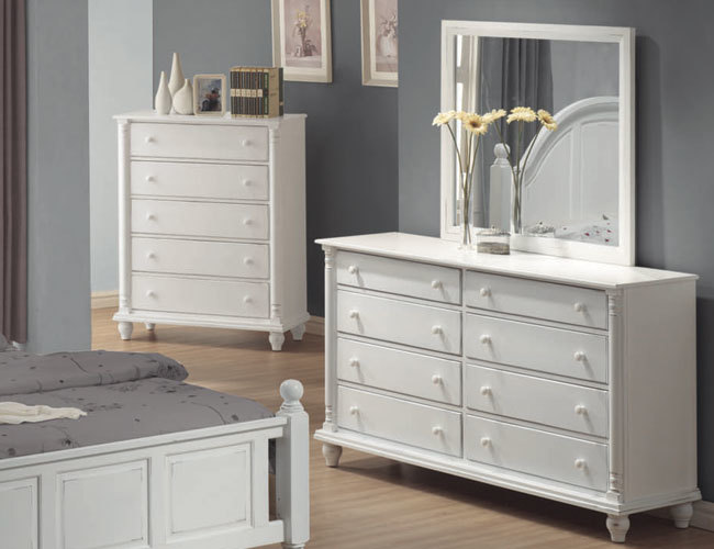 Picture of: White Dresser With Mirror Drawers