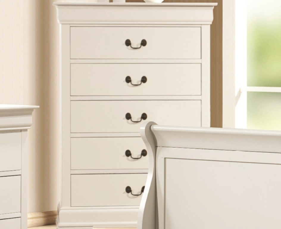 Picture of: Contemporary White 5 Drawer Dresser