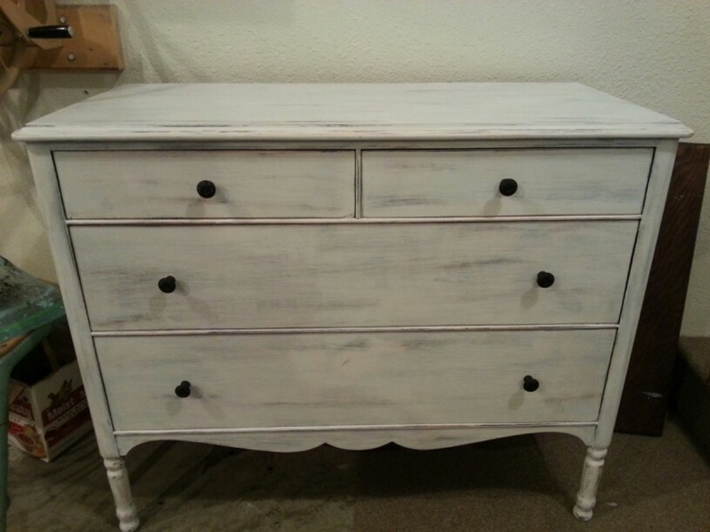 Picture of: Distressed Dresser White