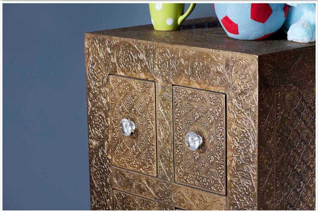 Picture of: Embossed Metal Dresser