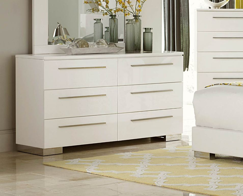 Picture of: Agreeable High Gloss White Dresser