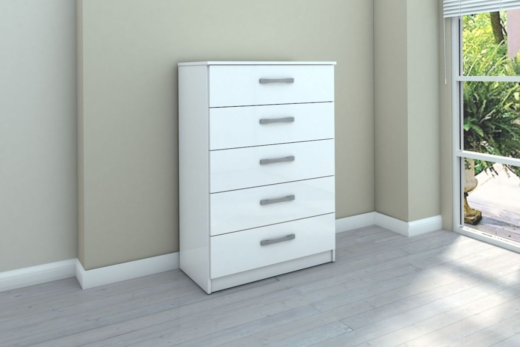 Picture of: Luxury White 5 Drawer Dresser