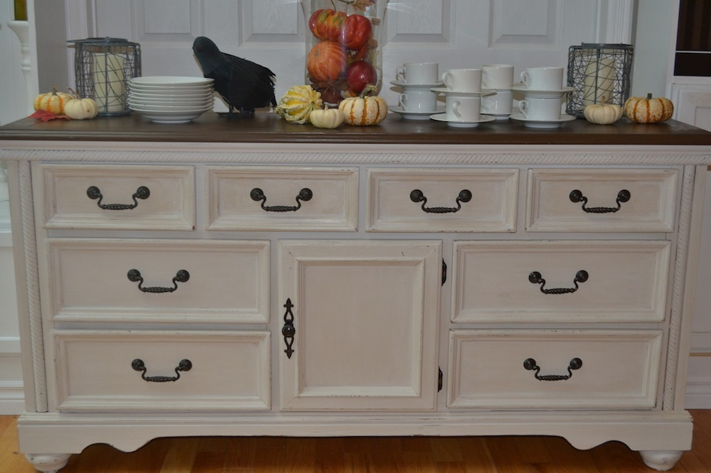Picture of: White Dresser With Dark Wood Top