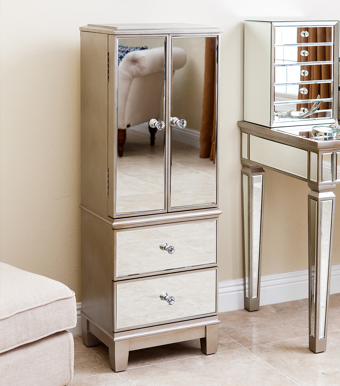Image of: Amazing Mirrored Jewelry Armoire