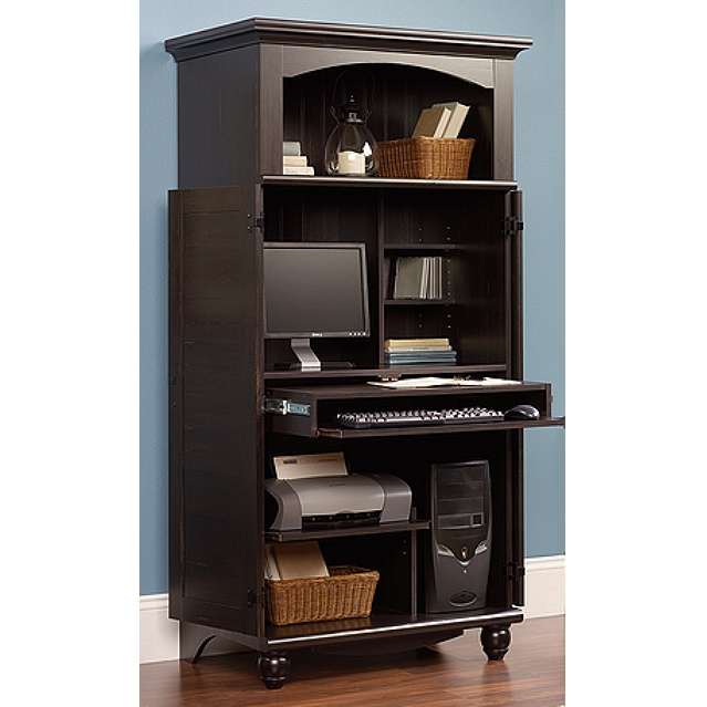 Image of: Antique Black Computer Armoire