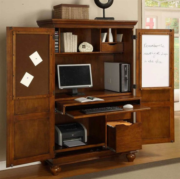 Image of: Big Armoire Computer Desk