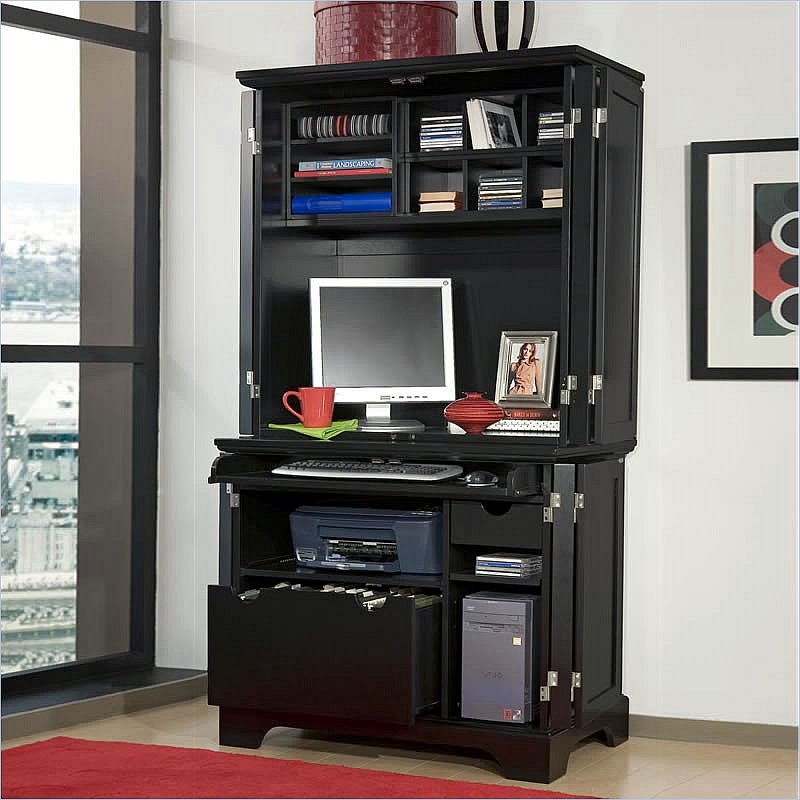 Image of: Black Computer Cabinet Armoire