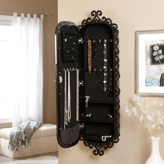 Picture of: Black Hanging Jewelry Armoire