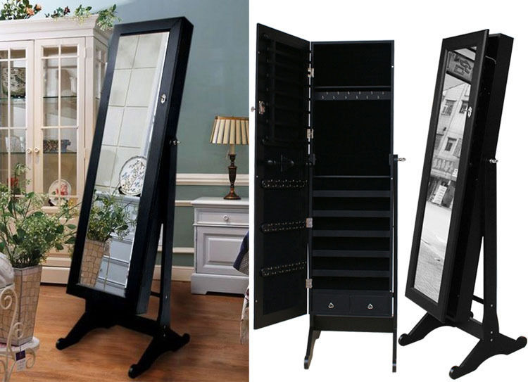 Image of: Black Stand Up Mirror Jewelry Armoire