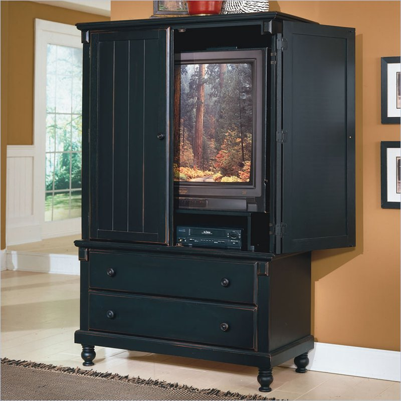 Image of: Black TV Armoire Cabinet