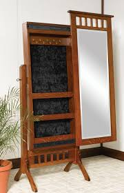 Brown Cheval Mirror Jewelry Armoire
