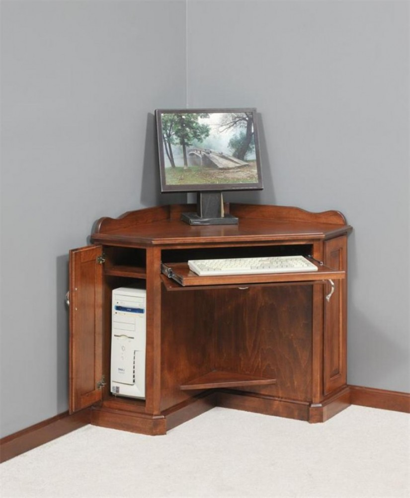 Picture of: Brown Corner Armoire Computer Desk