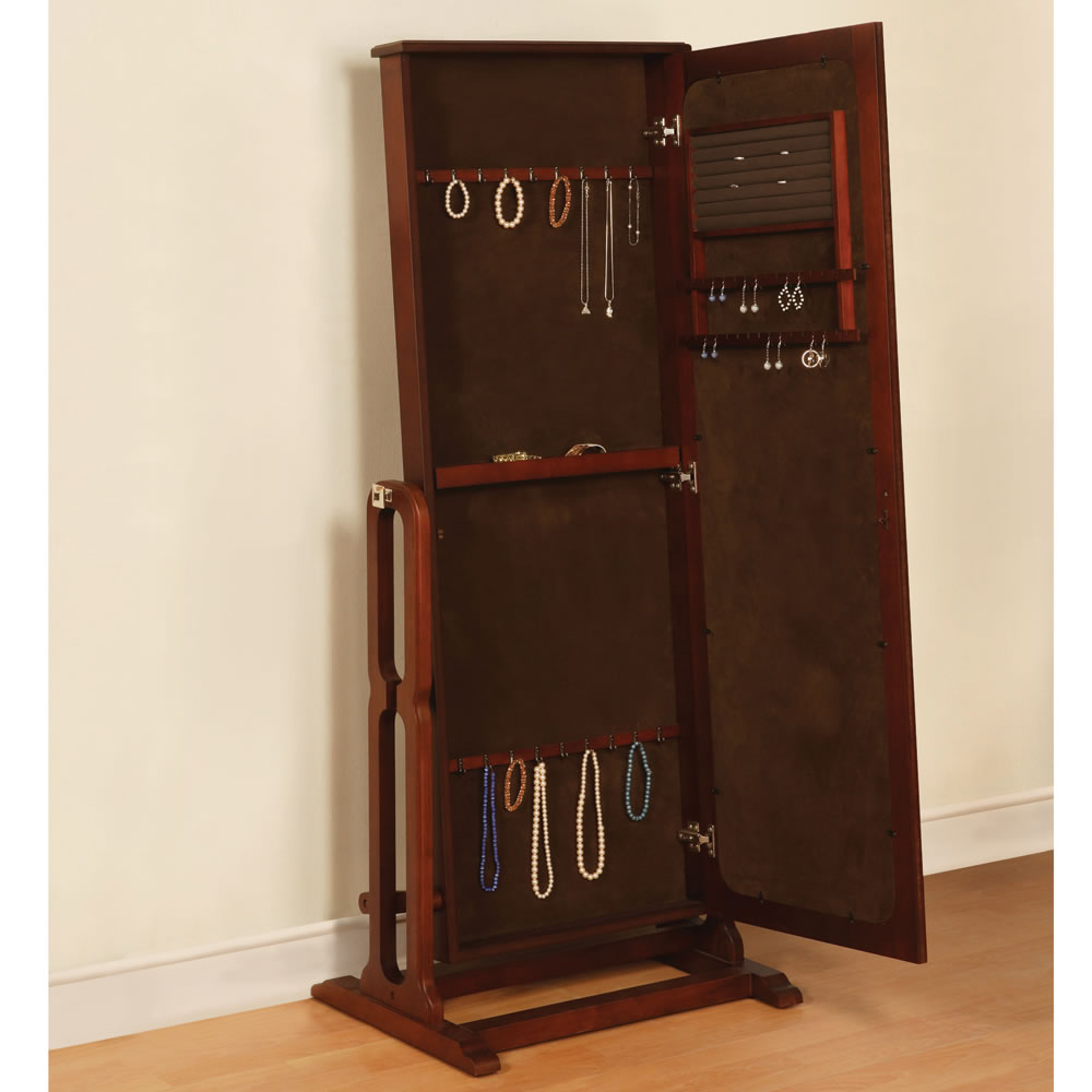 Brown Standing Mirror Jewelry Armoire