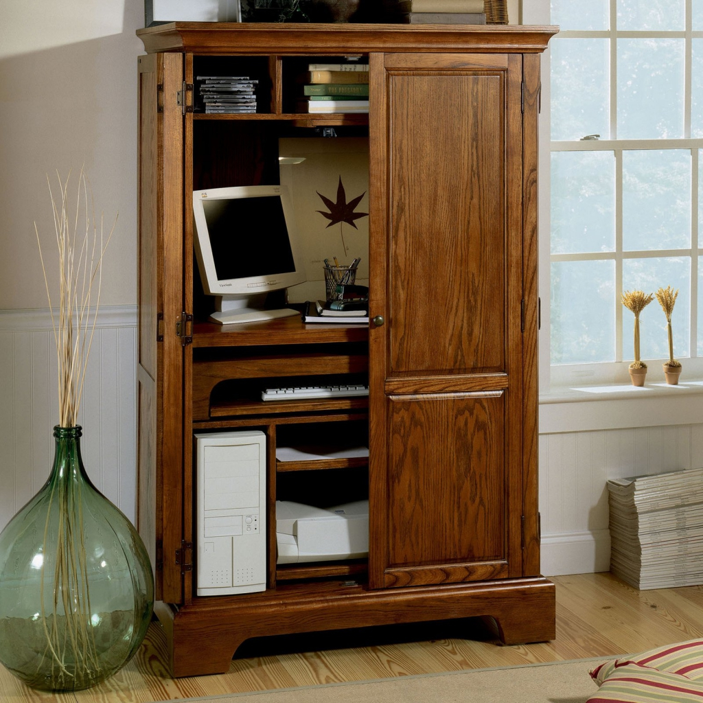 Picture of: Cabinet Corner Armoire Computer Desk
