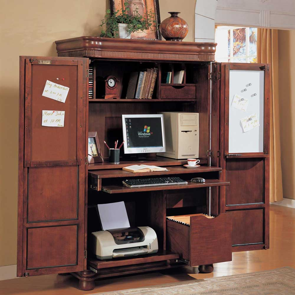 Picture of: Cherry Corner Armoire Computer Desk