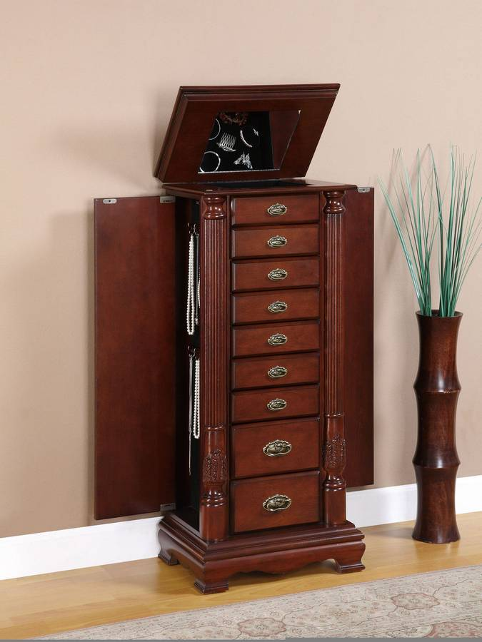Image of: Cherry Jewelry Armoire with Mirror