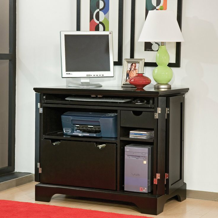 Image of: Custom Black Computer Armoire