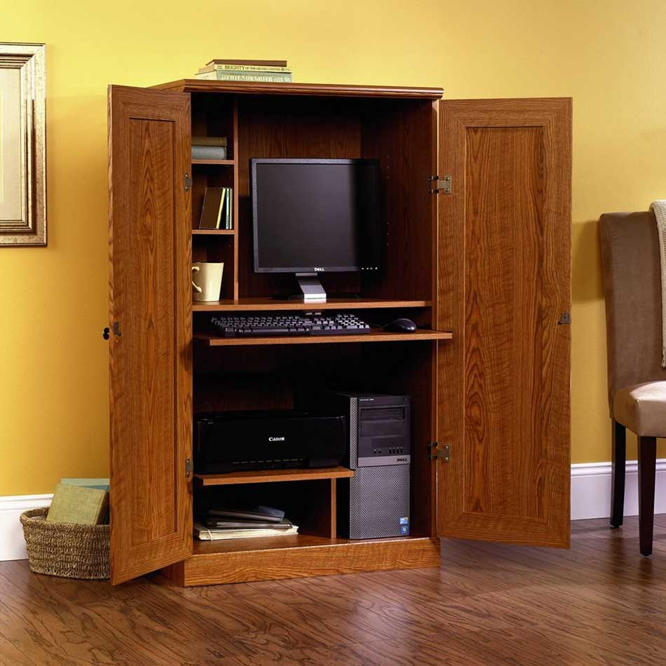 Image of: Custom Computer Cabinet Armoire