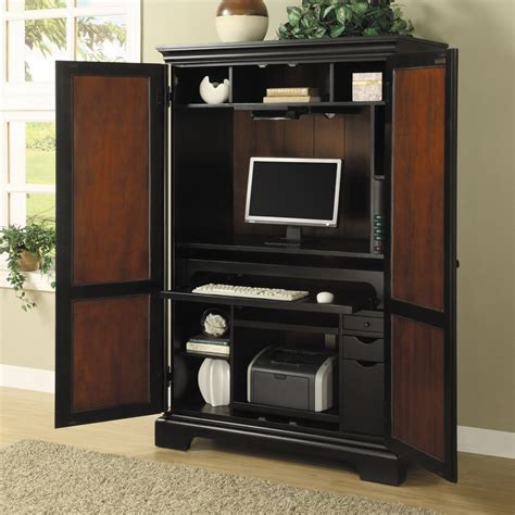 Picture of: Dark Armoire Computer Desk