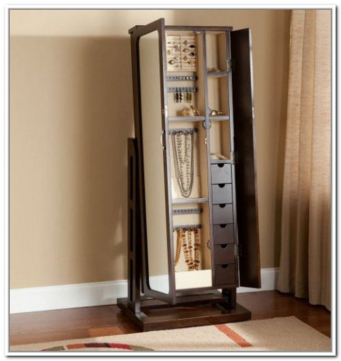 Image of: Design Stand Up Mirror Jewelry Armoire