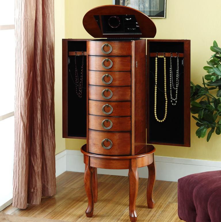 Image of: Elegant Antique Jewelry Armoire