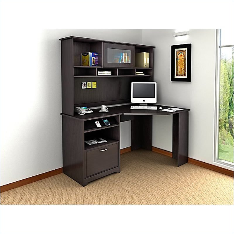 Picture of: Espresso Corner Armoire Computer Desk