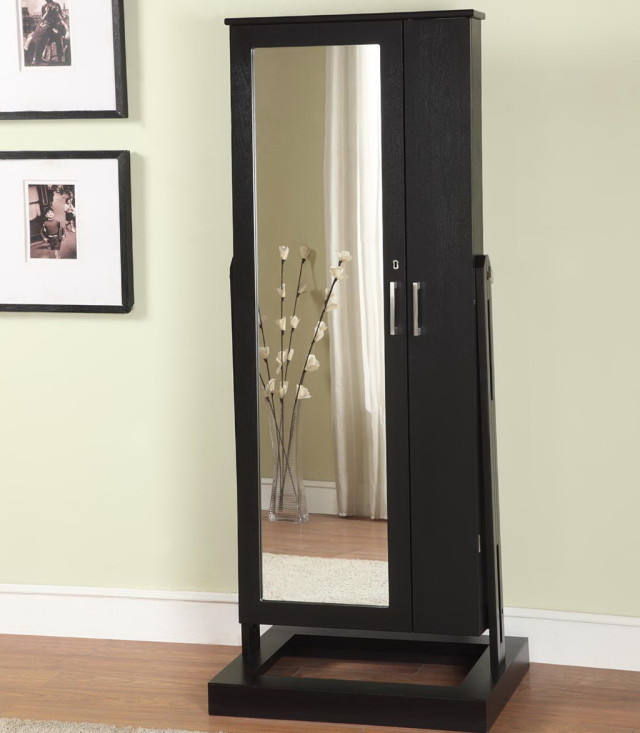 Picture of: Espresso Full Length Mirror Jewelry Armoire