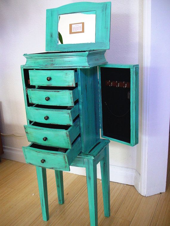 Image of: Green Jewelry Box Armoire
