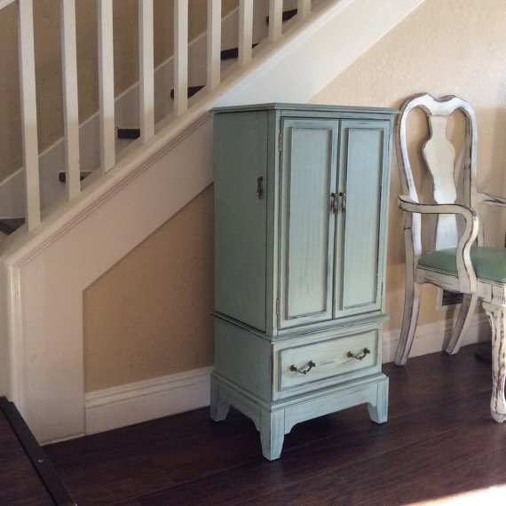 Image of: Green Rustic Jewelry Armoire
