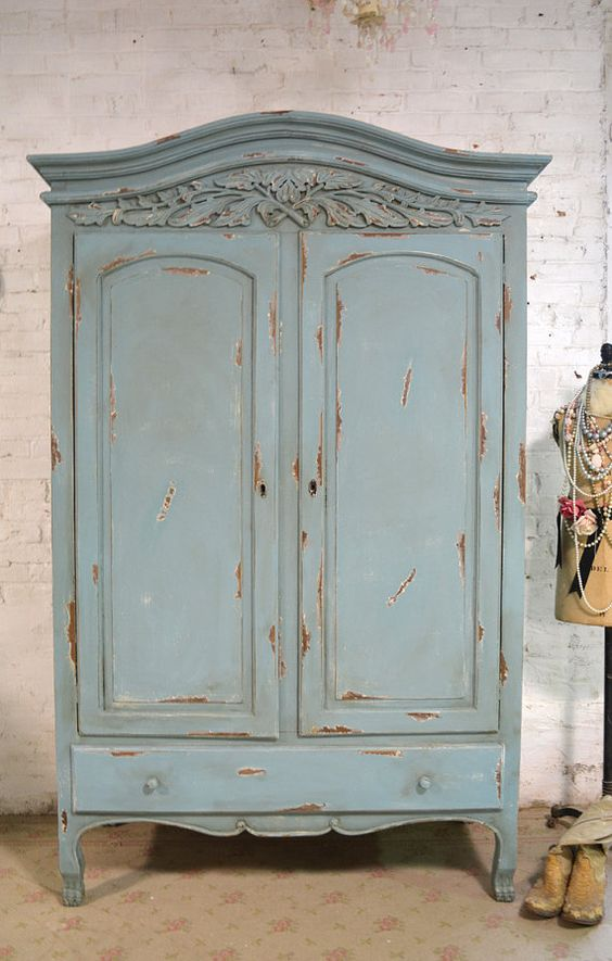 Image of: Green Shabby Chic Armoire