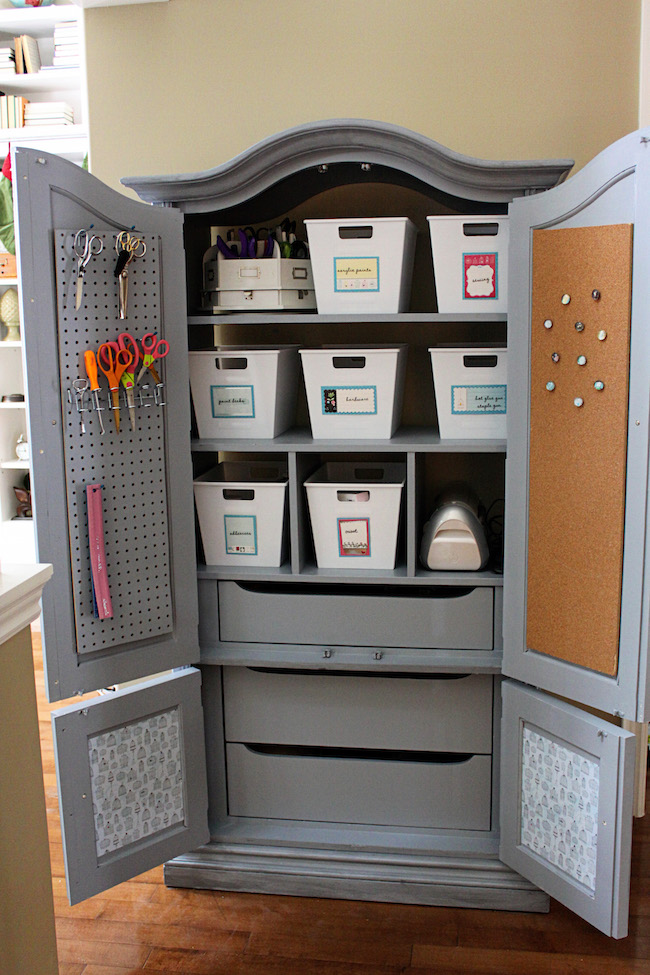 Image of: Grey Craft Cabinet Armoire