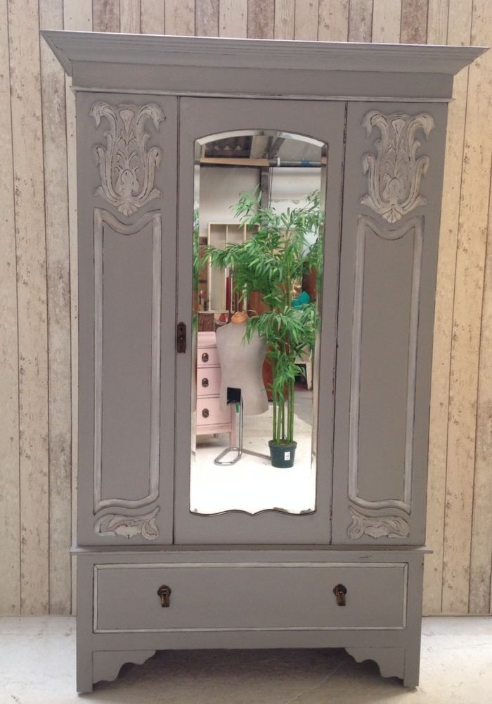 Grey Mirrored Armoire Wardrobe