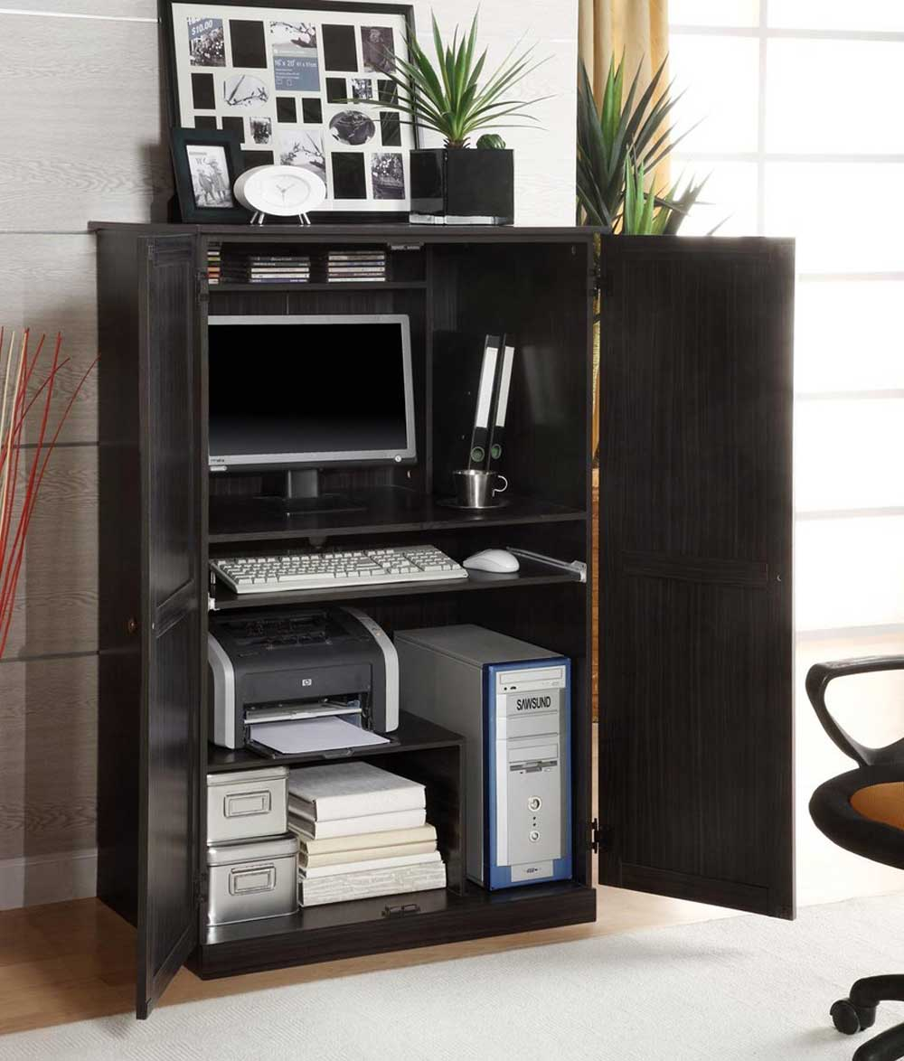 Image of: Innovative Black Computer Armoire