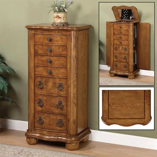 Image of: Interest Oak Jewelry Armoire