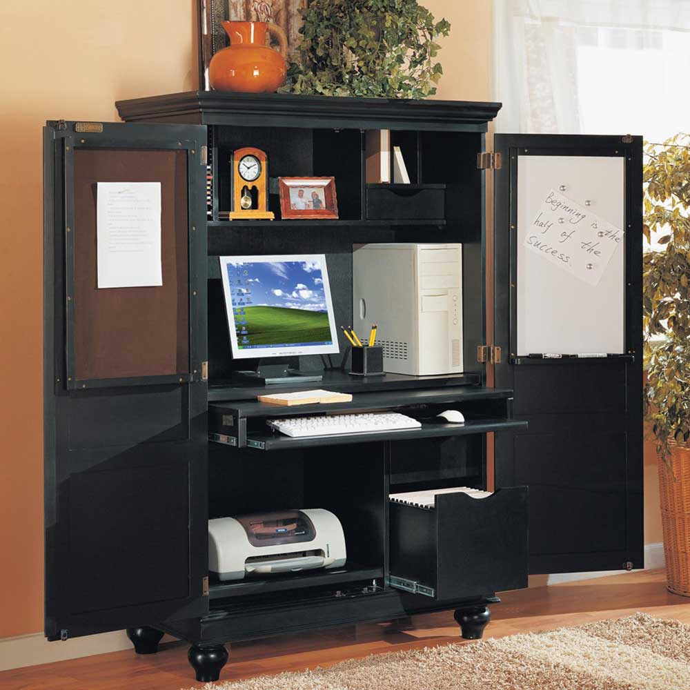Image of: Large Black Computer Armoire