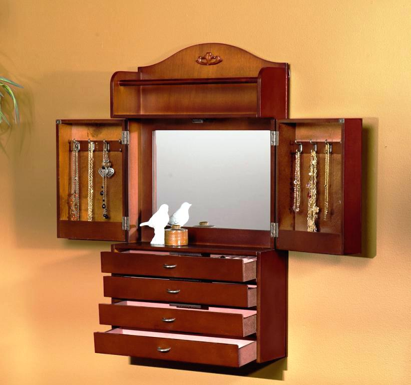 Picture of: Large Jewelry Armoire with Mirror and Storage