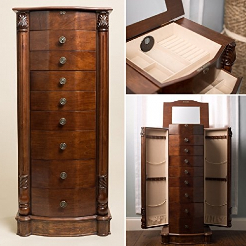 Picture of: Large Locking Jewelry Armoire