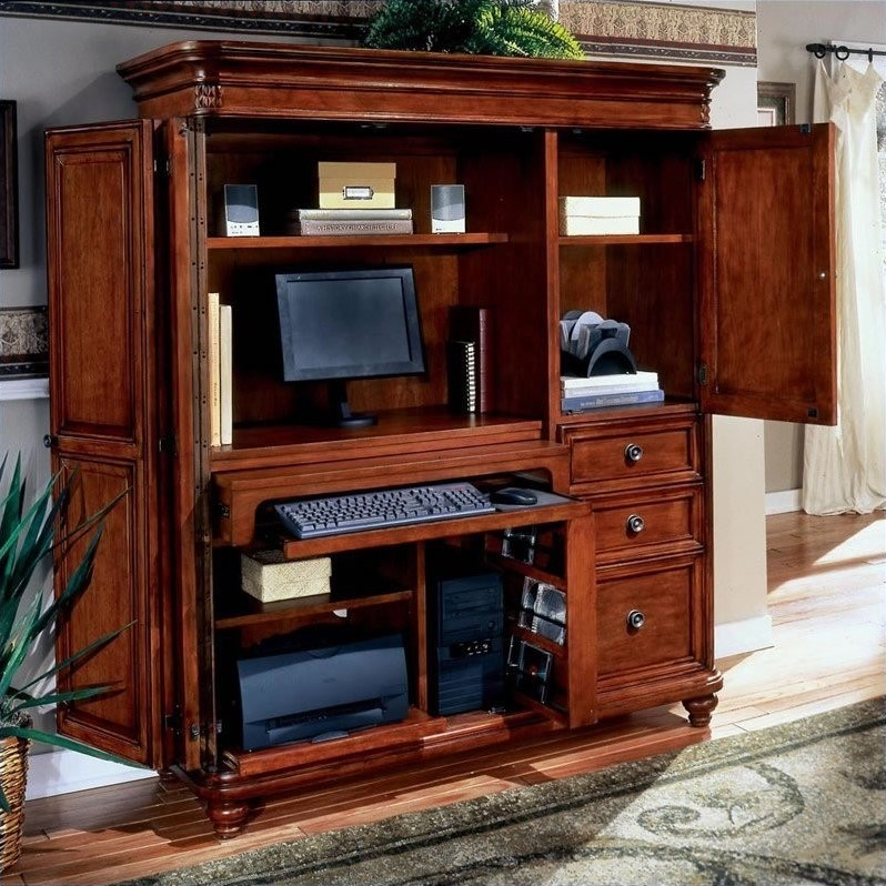 Image of: Mahogany Computer Armoire Desk