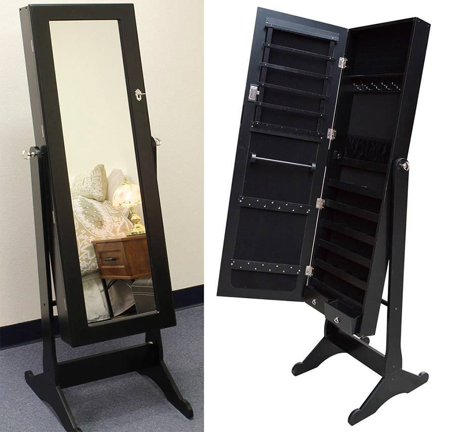 Image of: Mirror Black Jewelry Armoire