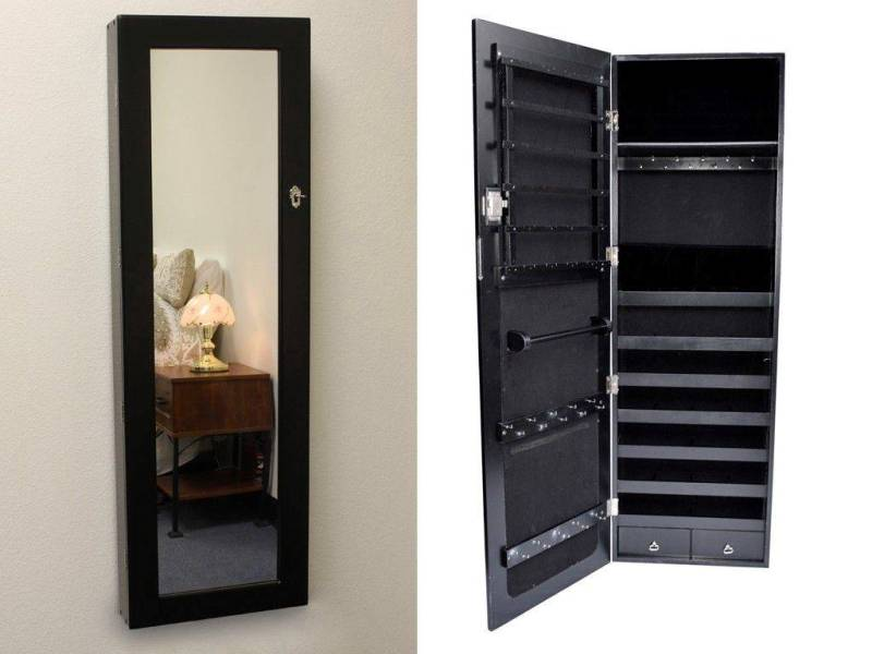 Image of: Mirrored Jewelry Armoire Set
