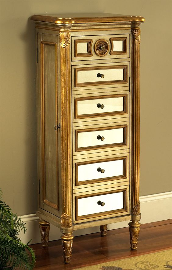 Image of: Mirrored Tall Jewelry Armoire