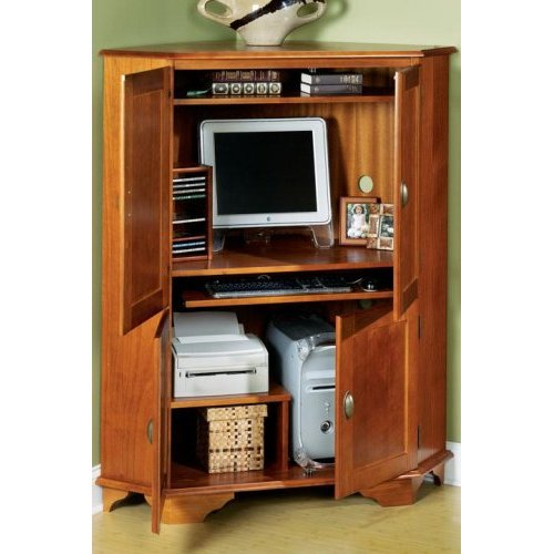 Picture of: Modern Corner Computer Armoire
