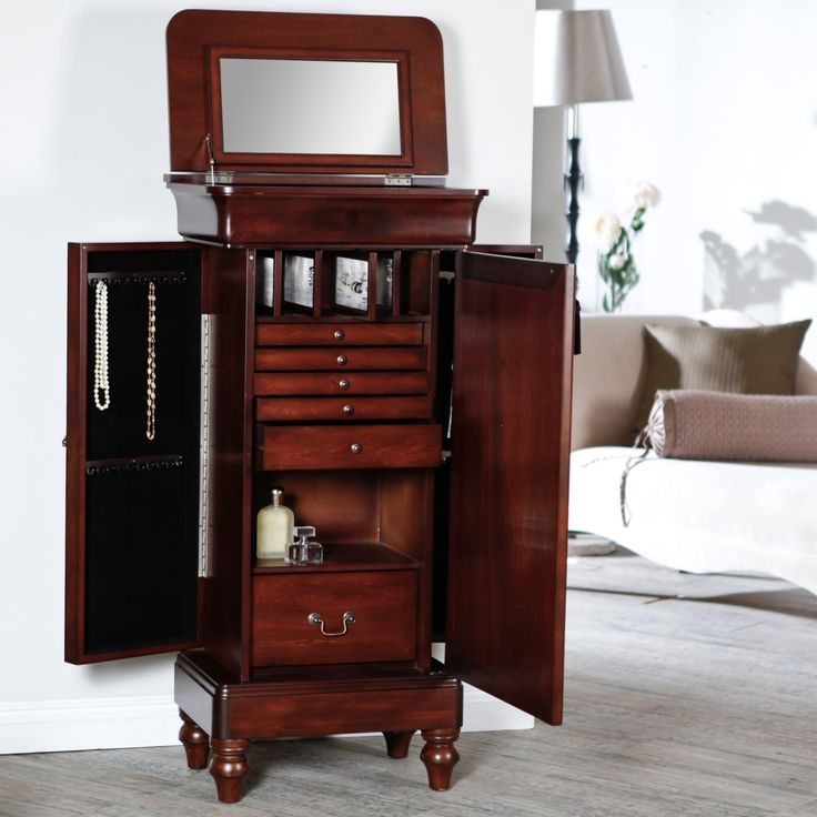 Picture of: Modern Locking Jewelry Armoire