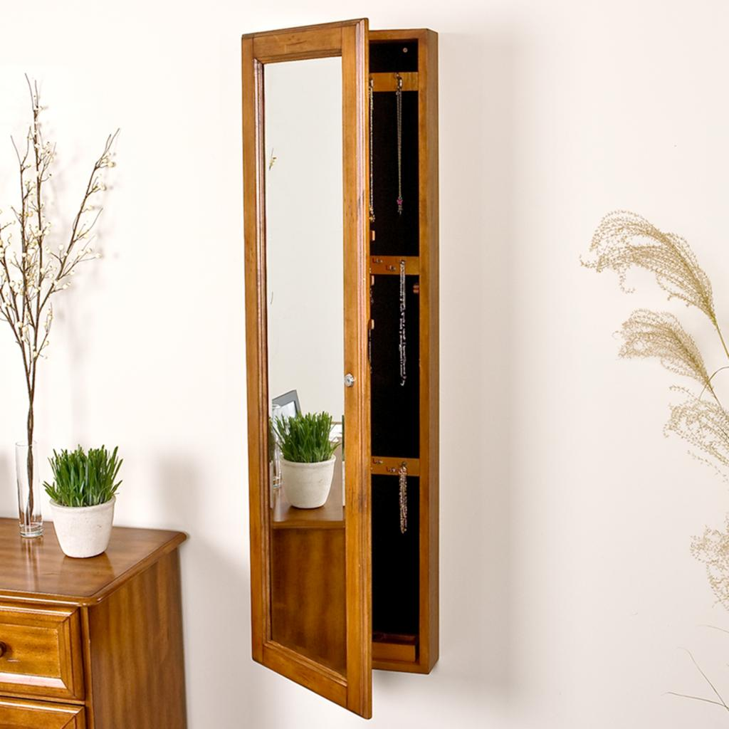 Image of: Narrow Mirrored Jewelry Armoire