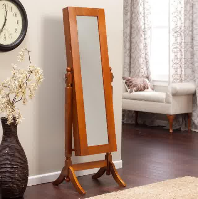 Image of: Oak Stand Up Mirror Jewelry Armoire