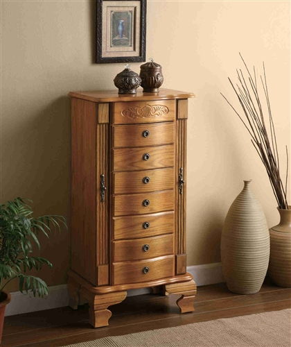 Picture of: Oak Wooden Jewelry Armoire
