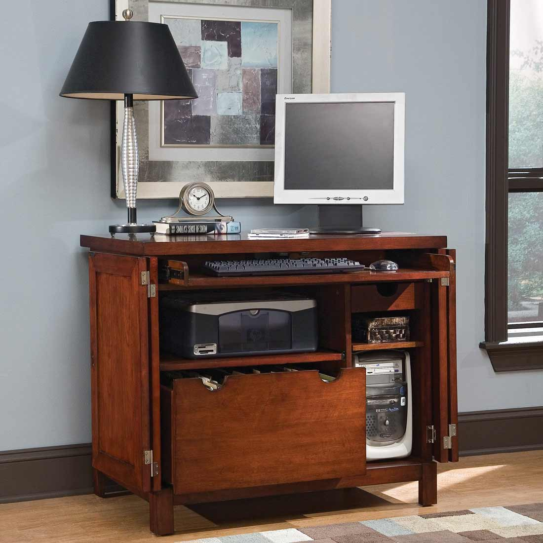 Image of: Office Armoire Computer Desk