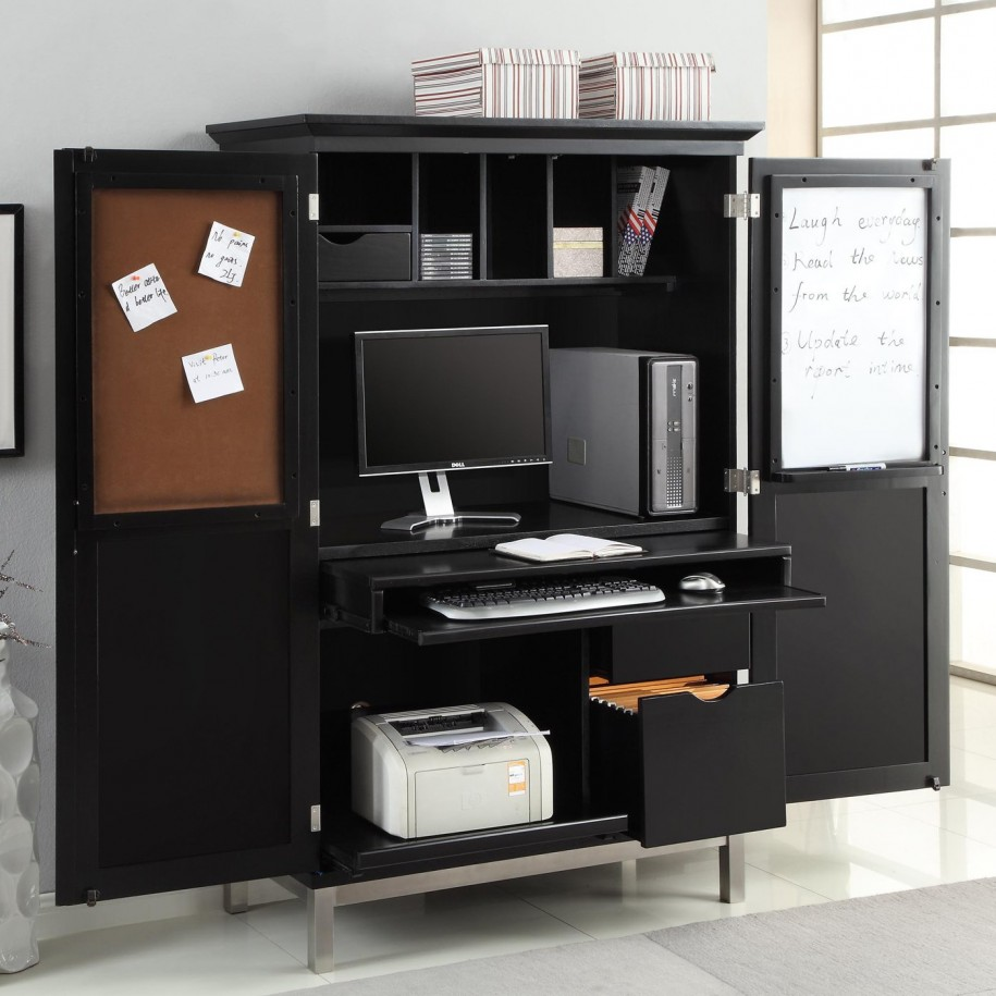 Image of: Office Black Computer Armoire
