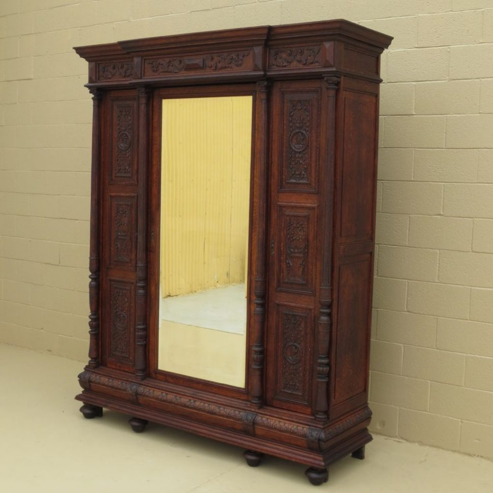 Image of: Pine Armoire and Mirror